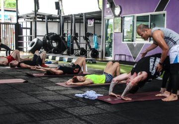 Yoga class at Unit 27 gym, Phuket, Thailand